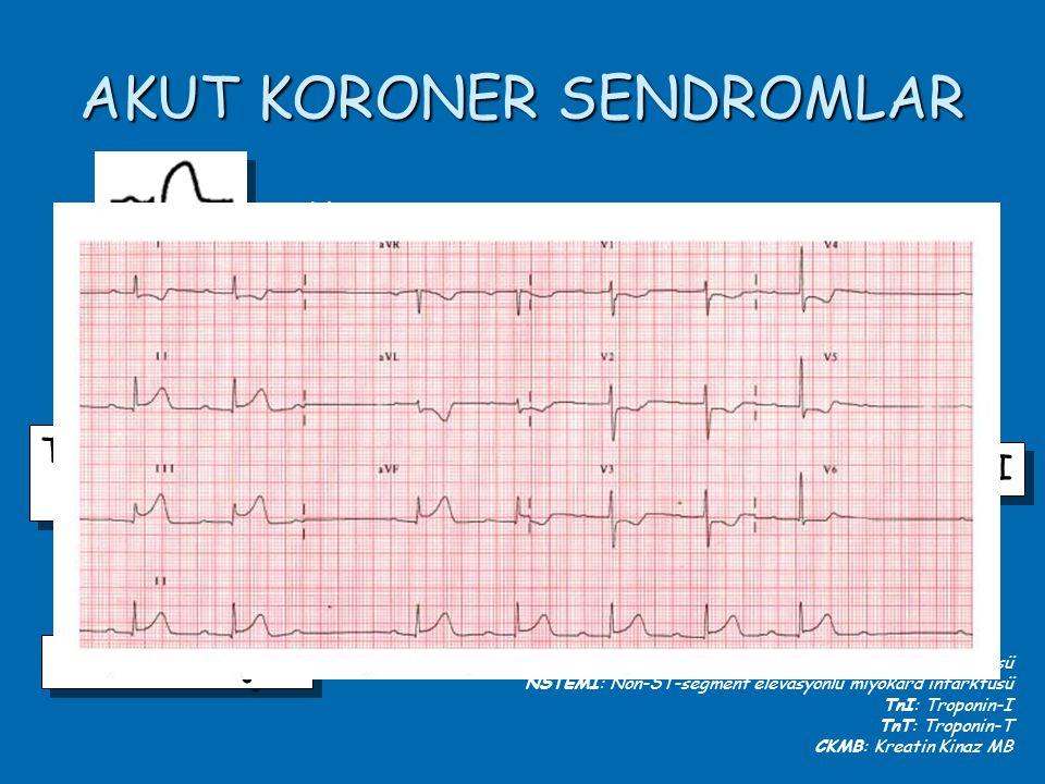 AKUT KORONER SENDROMLAR TnI, TnT, CKMB Yükseliği TnI, TnT, CKMB Yükseliği NSTEMI Anstabil Anjina Q wave MI Non-Q wave MI Var Yok STEMI: ST-segment elevasyonlu miyokard infarktüsü NSTEMI: Non-ST-segment elevasyonlu miyokard infarktüsü TnI: Troponin-I TnT: Troponin-T CKMB: Kreatin Kinaz MB STEMI