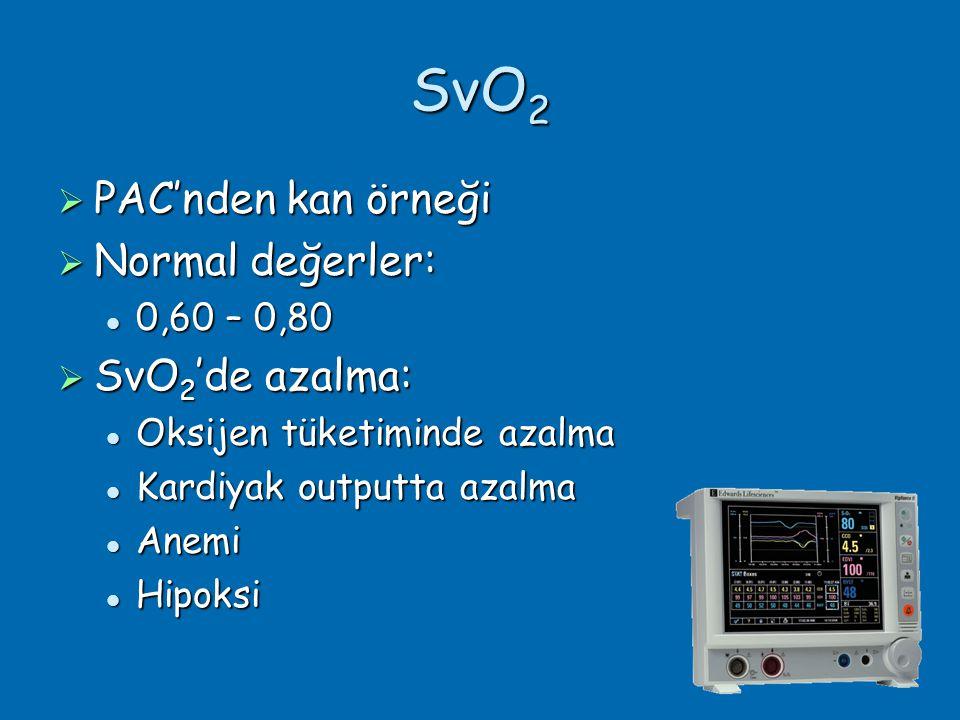 SvO 2  PAC'nden kan örneği  Normal değerler:  0,60 – 0,80  SvO 2 'de azalma:  Oksijen tüketiminde azalma  Kardiyak outputta azalma  Anemi  Hipoksi