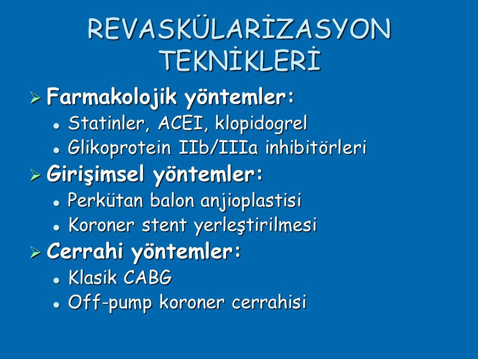 REVASKÜLARİZASYON TEKNİKLERİ  Farmakolojik yöntemler:  Statinler, ACEI, klopidogrel  Glikoprotein IIb/IIIa inhibitörleri  Girişimsel yöntemler:  Perkütan balon anjioplastisi  Koroner stent yerleştirilmesi  Cerrahi yöntemler:  Klasik CABG  Off-pump koroner cerrahisi