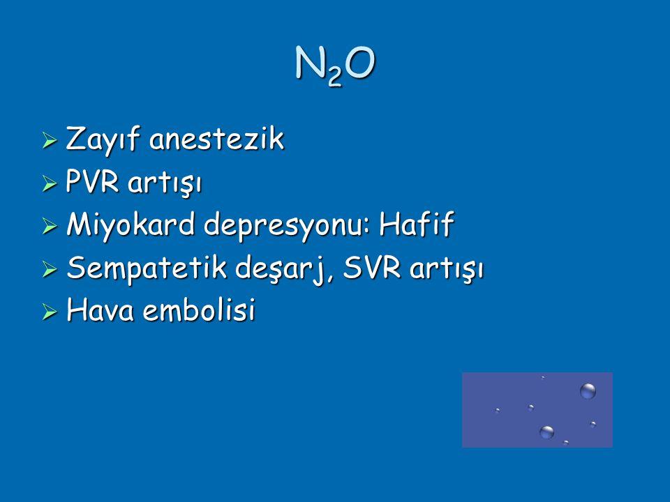 N2ON2ON2ON2O  Zayıf anestezik  PVR artışı  Miyokard depresyonu: Hafif  Sempatetik deşarj, SVR artışı  Hava embolisi