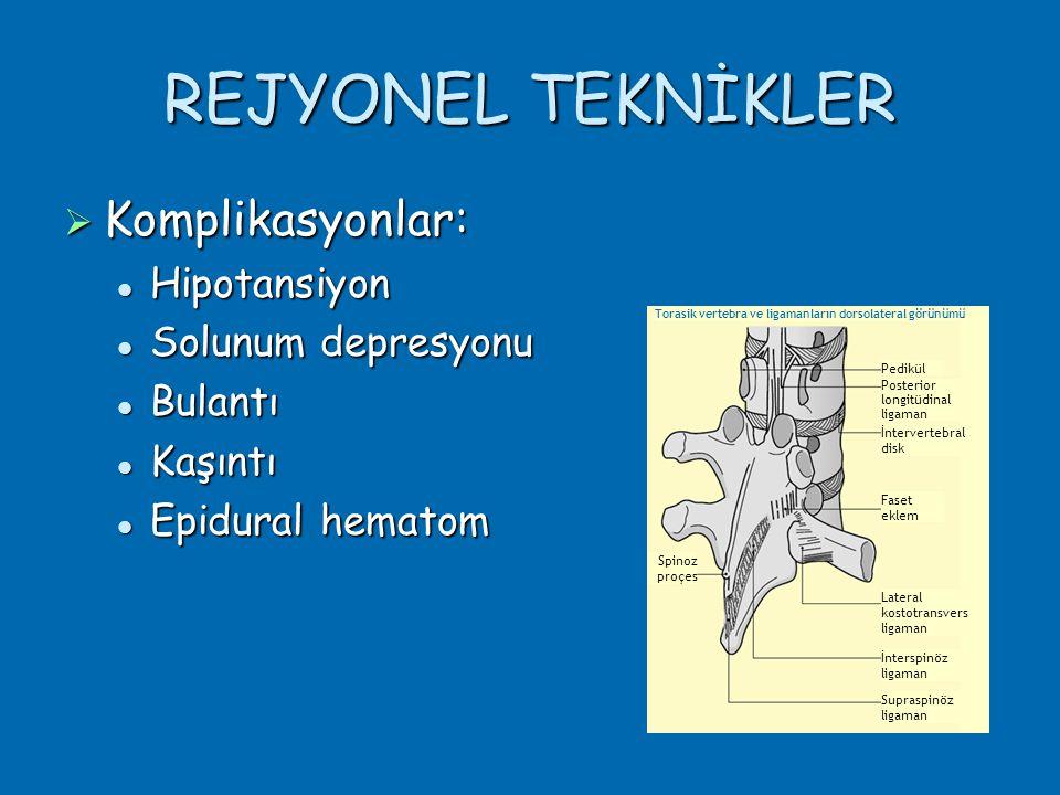 REJYONEL TEKNİKLER  Komplikasyonlar:  Hipotansiyon  Solunum depresyonu  Bulantı  Kaşıntı  Epidural hematom Pedikül Posterior longitüdinal ligaman İntervertebral disk Faset eklem Lateral kostotransvers ligaman İnterspinöz ligaman Supraspinöz ligaman Spinoz proçes Torasik vertebra ve ligamanların dorsolateral görünümü