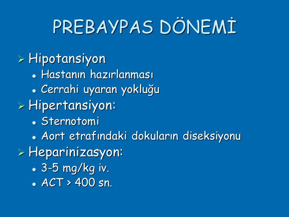 PREBAYPAS DÖNEMİ  Hipotansiyon  Hastanın hazırlanması  Cerrahi uyaran yokluğu  Hipertansiyon:  Sternotomi  Aort etrafındaki dokuların diseksiyonu  Heparinizasyon:  3-5 mg/kg iv.