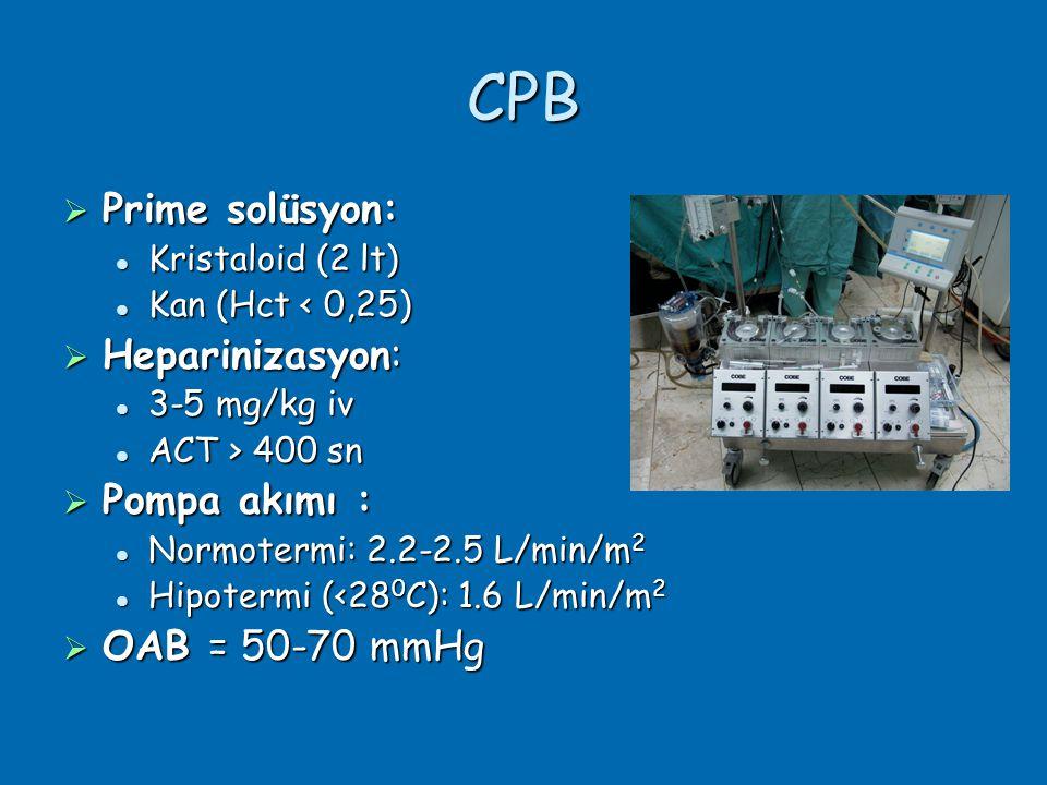 CPB  Prime solüsyon:  Kristaloid (2 lt)  Kan (Hct < 0,25)  Heparinizasyon:  3-5 mg/kg iv  ACT > 400 sn  Pompa akımı :  Normotermi: 2.2-2.5 L/min/m 2  Hipotermi (<28 0 C): 1.6 L/min/m 2  OAB = 50-70 mmHg