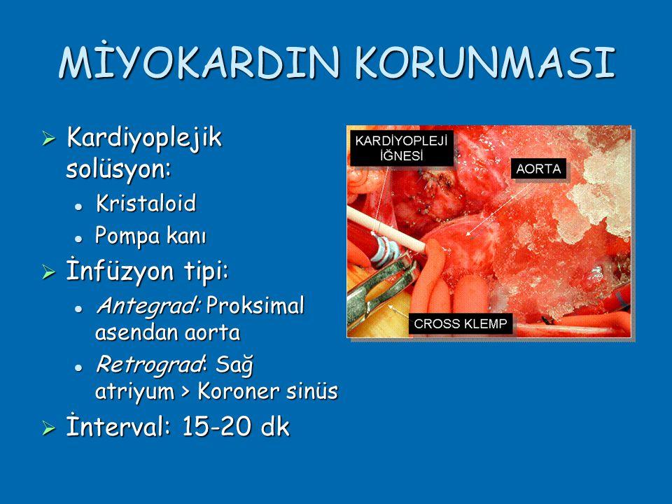 MİYOKARDIN KORUNMASI  Kardiyoplejik solüsyon:  Kristaloid  Pompa kanı  İnfüzyon tipi:  Antegrad: Proksimal asendan aorta  Retrograd: Sağ atriyum > Koroner sinüs  İnterval: 15-20 dk