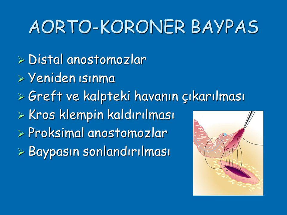 AORTO-KORONER BAYPAS  Distal anostomozlar  Yeniden ısınma  Greft ve kalpteki havanın çıkarılması  Kros klempin kaldırılması  Proksimal anostomozlar  Baypasın sonlandırılması