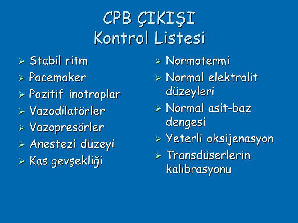 CPB ÇIKIŞI Kontrol Listesi  Stabil ritm  Pacemaker  Pozitif inotroplar  Vazodilatörler  Vazopresörler  Anestezi düzeyi  Kas gevşekliği  Normotermi  Normal elektrolit düzeyleri  Normal asit-baz dengesi  Yeterli oksijenasyon  Transdüserlerin kalibrasyonu