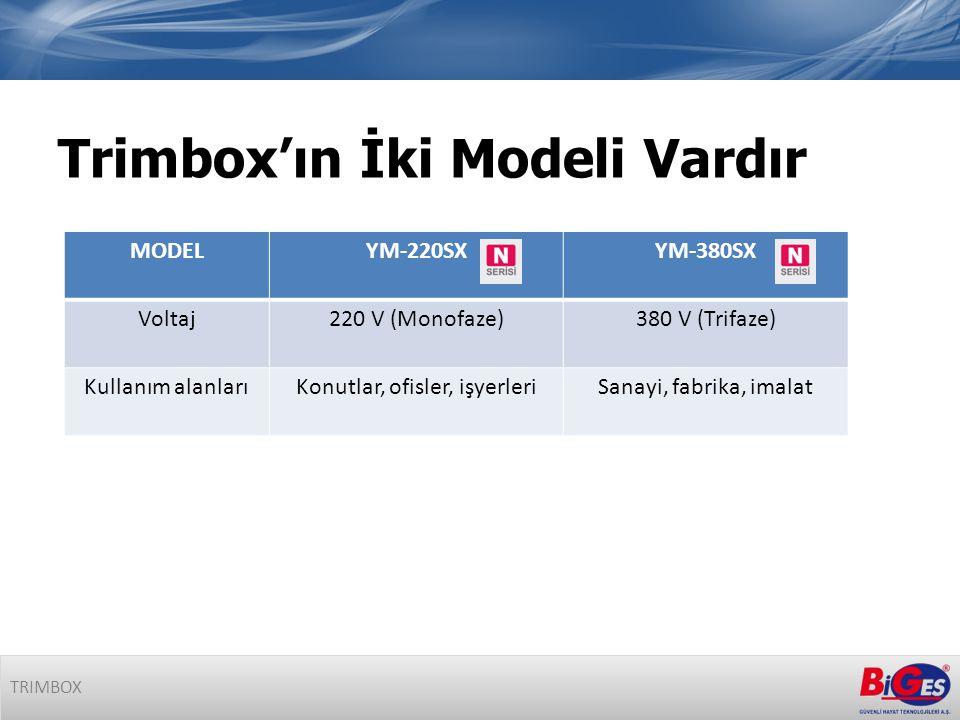 MODELYM-220SXYM-380SX Voltaj220 V (Monofaze)380 V (Trifaze) Kullanım alanlarıKonutlar, ofisler, işyerleriSanayi, fabrika, imalat Trimbox'ın İki Modeli Vardır TRIMBOX