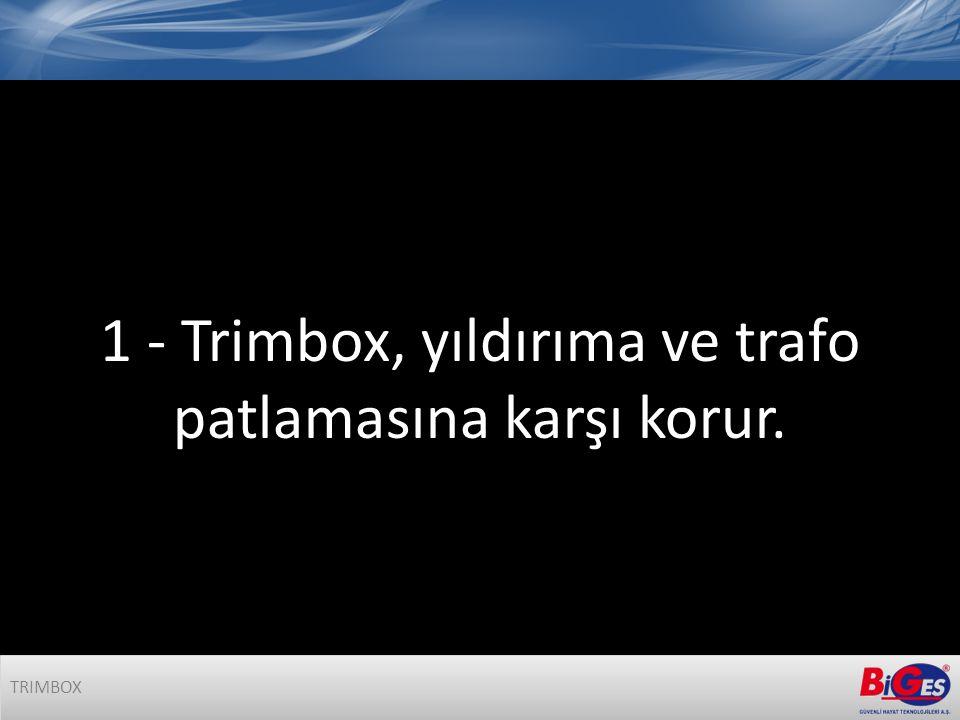 1 - Trimbox, yıldırıma ve trafo patlamasına karşı korur. TRIMBOX