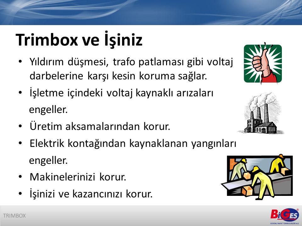 Trimbox ve İşiniz • Yıldırım düşmesi, trafo patlaması gibi voltaj darbelerine karşı kesin koruma sağlar.
