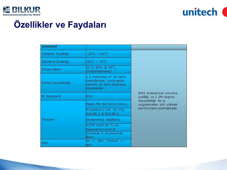 Özellikler ve Faydaları V, 21 mm Güç Kaynağı AC/ DC Adaptör AC Güç Girişi: 100V-240 50Hz-60Hz, 12V/2A, 24W Düşük güç tüketimi DC Güç Çıkışı: 12V/ 2A Pil Li-Polymer yüksek kapasiteli pil (27 saat bekleme ömrü) Uzun kullanım süresi 6 saat kullanım ömrü Çevirme Ağırlık 570 gram, 3.75G modelinde 600gramdan hafif ağırlığı ile mobile uygulamalarda kolaylık sağlar.