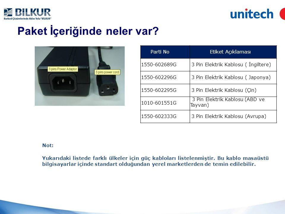 Paket İçeriğinde neler var.1. TB100 paketinin üst görünümü 2.