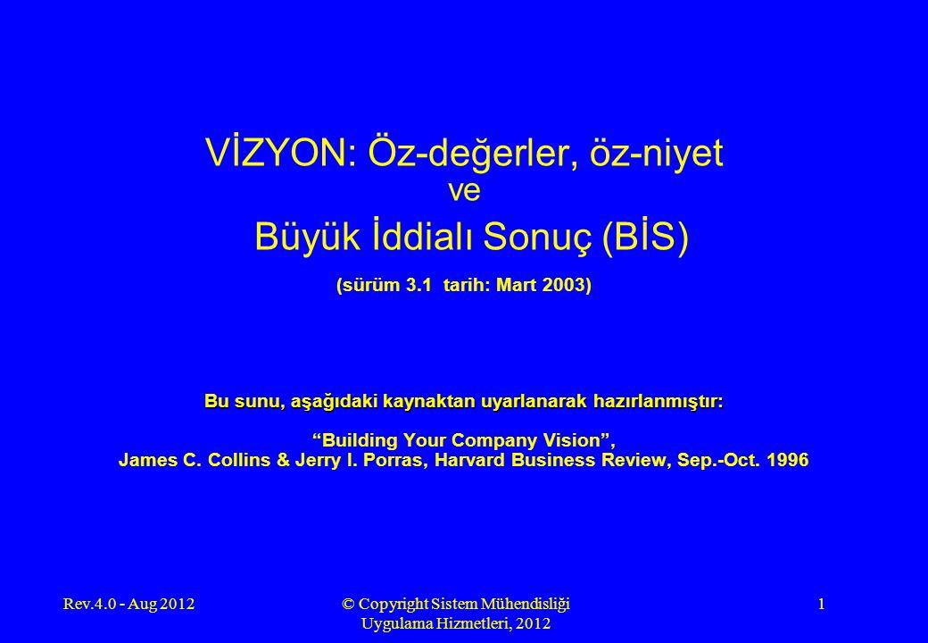 Rev.4.0 - Aug 2012© Copyright Sistem Mühendisliği Uygulama Hizmetleri, 2012 22 ÖZ-NİYET Ideolojik öz'ün ikinci parçası, öz-niyet , varlık nedenidir.