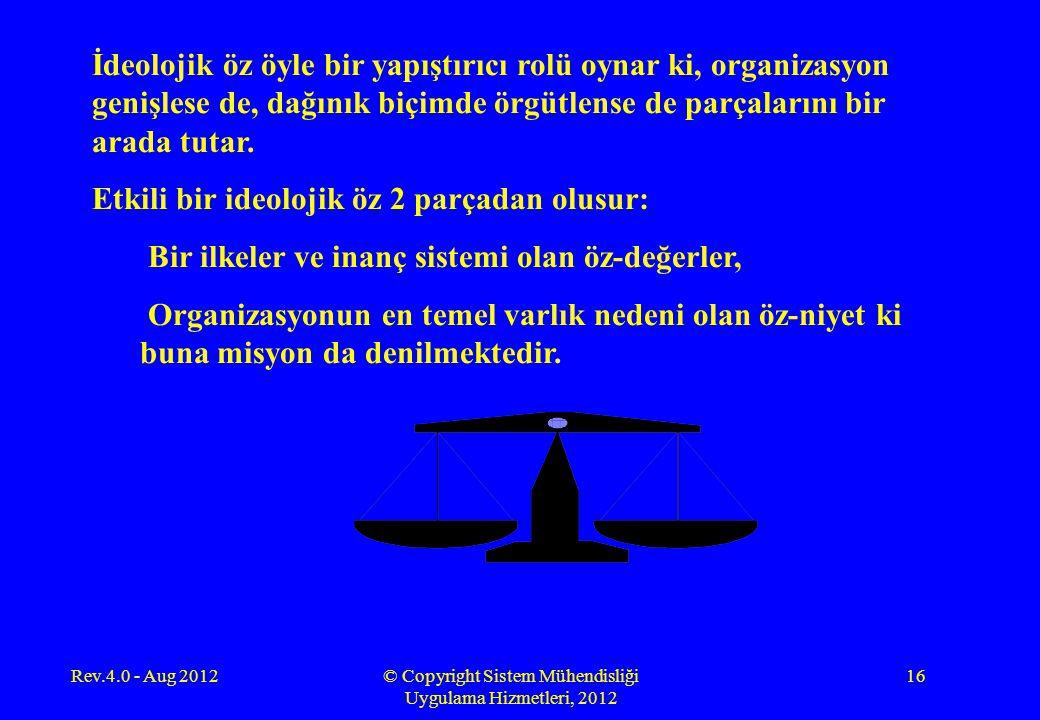 Rev.4.0 - Aug 2012© Copyright Sistem Mühendisliği Uygulama Hizmetleri, 2012 16 İdeolojik öz öyle bir yapıştırıcı rolü oynar ki, organizasyon genişlese