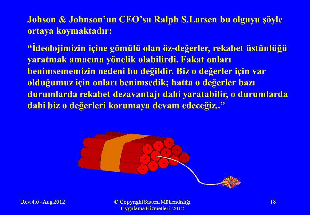 Rev.4.0 - Aug 2012© Copyright Sistem Mühendisliği Uygulama Hizmetleri, 2012 18 Johson & Johnson'un CEO'su Ralph S.Larsen bu olguyu şöyle ortaya koymak