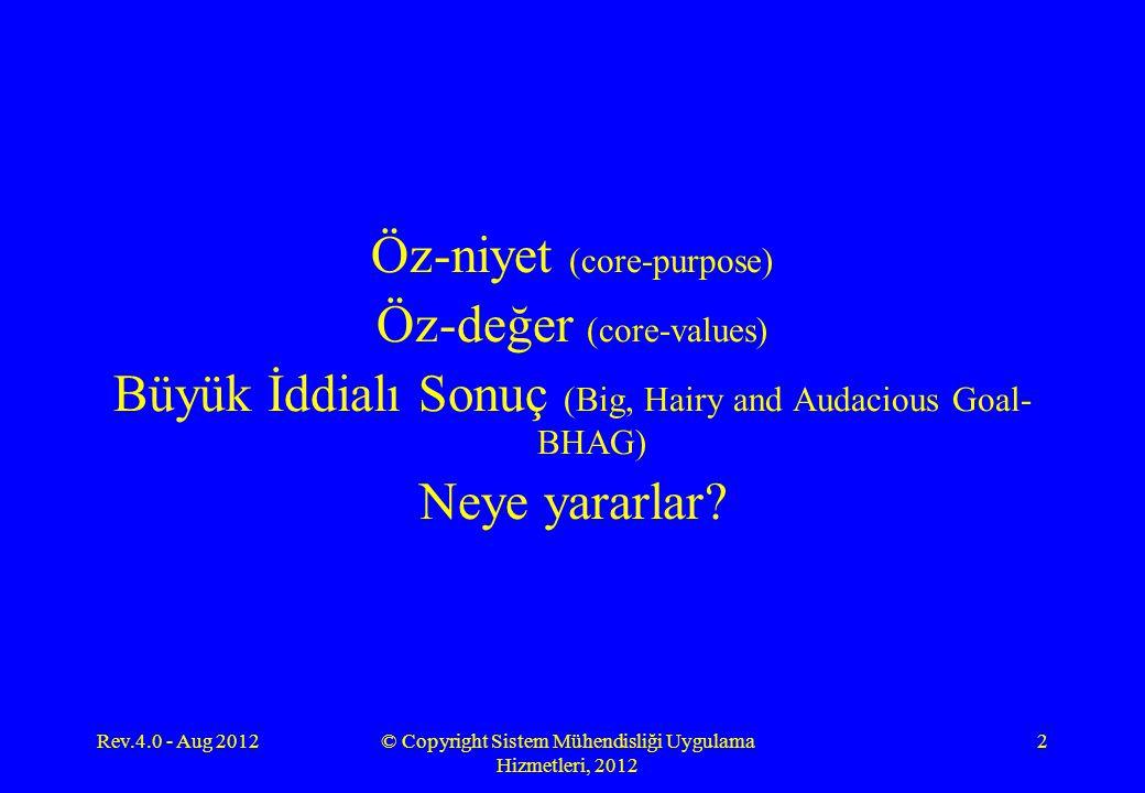 Öz-niyet (core-purpose) Öz-değer (core-values) Büyük İddialı Sonuç (Big, Hairy and Audacious Goal- BHAG) Neye yararlar? Rev.4.0 - Aug 2012© Copyright