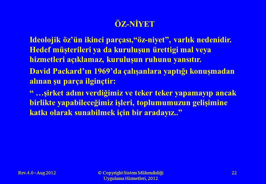 """Rev.4.0 - Aug 2012© Copyright Sistem Mühendisliği Uygulama Hizmetleri, 2012 22 ÖZ-NİYET Ideolojik öz'ün ikinci parçası,""""öz-niyet"""", varlık nedenidir. H"""