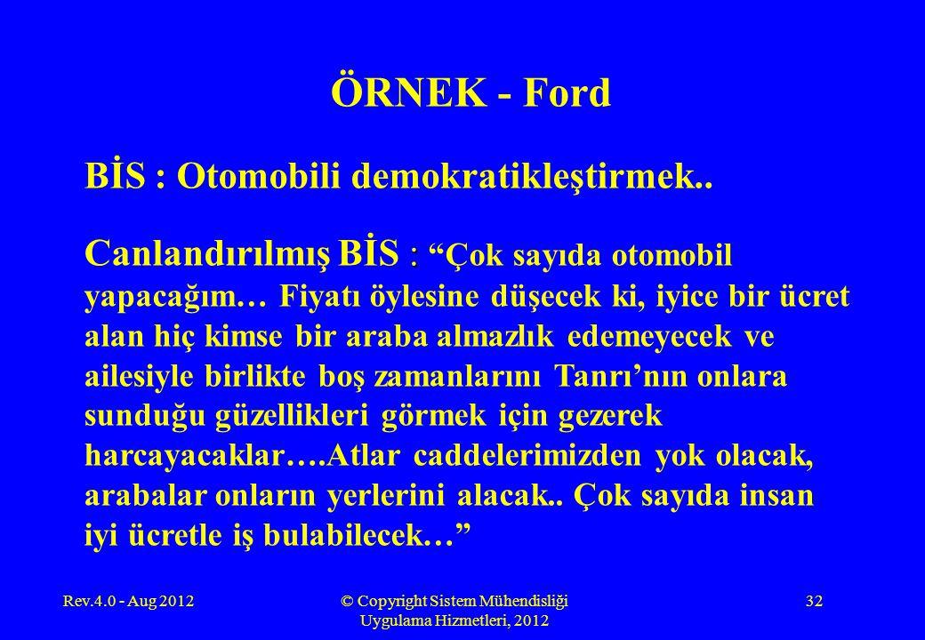 Rev.4.0 - Aug 2012© Copyright Sistem Mühendisliği Uygulama Hizmetleri, 2012 32 ÖRNEK - Ford BİS : Otomobili demokratikleştirmek.. : Canlandırılmış BİS