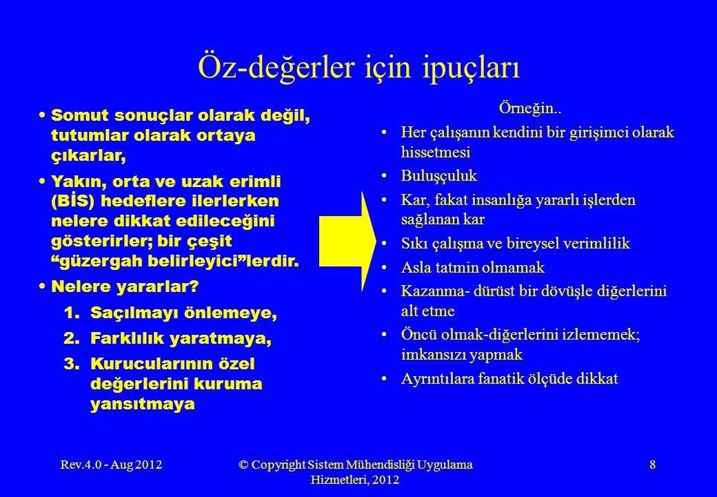 Rev.4.0 - Aug 2012© Copyright Sistem Mühendisliği Uygulama Hizmetleri, 2012 19 AZ SAYIDA ÖZ-DEĞER Organizasyonunuzun öz-değerlerini belirlemek için, büyük bir dürüstlükle, hangi değerlerin gerçekten öz durumda olduğunu sorgulayınız.
