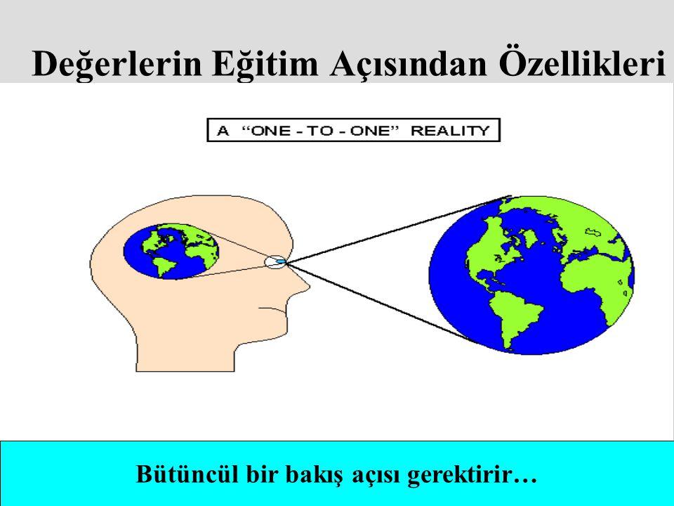 Değerlerin Eğitim Açısından Özellikleri Bütüncül bir bakış açısı gerektirir…