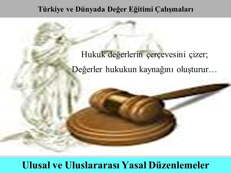 Ulusal ve Uluslararası Yasal Düzenlemeler Hukuk değerlerin çerçevesini çizer; Değerler hukukun kaynağını oluşturur… Türkiye ve Dünyada Değer Eğitimi Ç