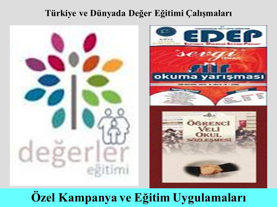Türkiye ve Dünyada Değer Eğitimi Çalışmaları Özel Kampanya ve Eğitim Uygulamaları
