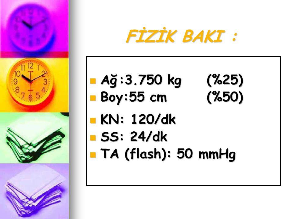 FİZİK BAKI :  Ağ:3.750 kg(%25)  Boy:55 cm(%50)  KN: 120/dk  SS: 24/dk  TA (flash): 50 mmHg