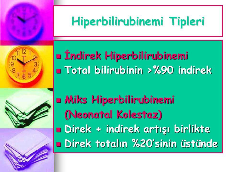 Hiperbilirubinemi Tipleri  İndirek Hiperbilirubinemi  Total bilirubinin >%90 indirek  Miks Hiperbilirubinemi (Neonatal Kolestaz)  Direk + indirek