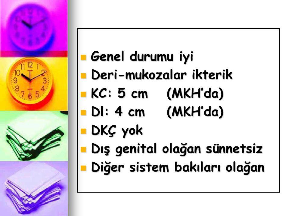  Genel durumu iyi  Deri-mukozalar ikterik  KC: 5 cm(MKH'da)  Dl: 4 cm(MKH'da)  DKÇ yok  Dış genital olağan sünnetsiz  Diğer sistem bakıları ola