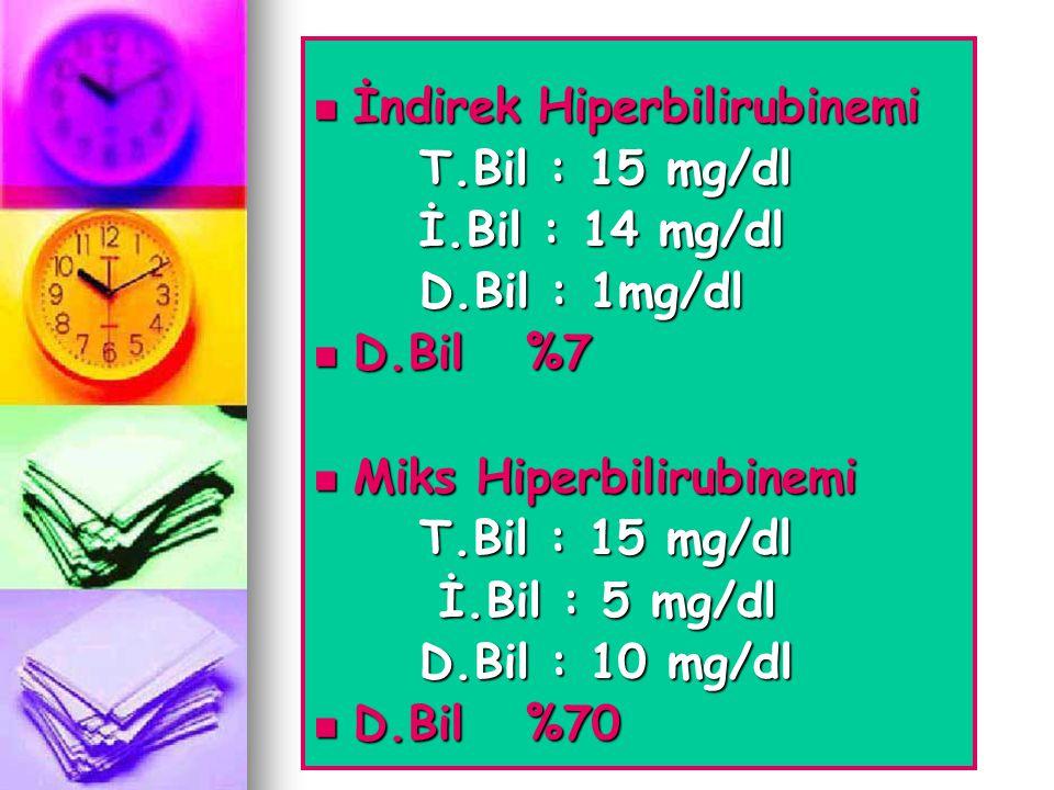  İndirek Hiperbilirubinemi T.Bil : 15 mg/dl İ.Bil : 14 mg/dl D.Bil : 1mg/dl  D.Bil%7  Miks Hiperbilirubinemi T.Bil : 15 mg/dl İ.Bil : 5 mg/dl İ.Bil