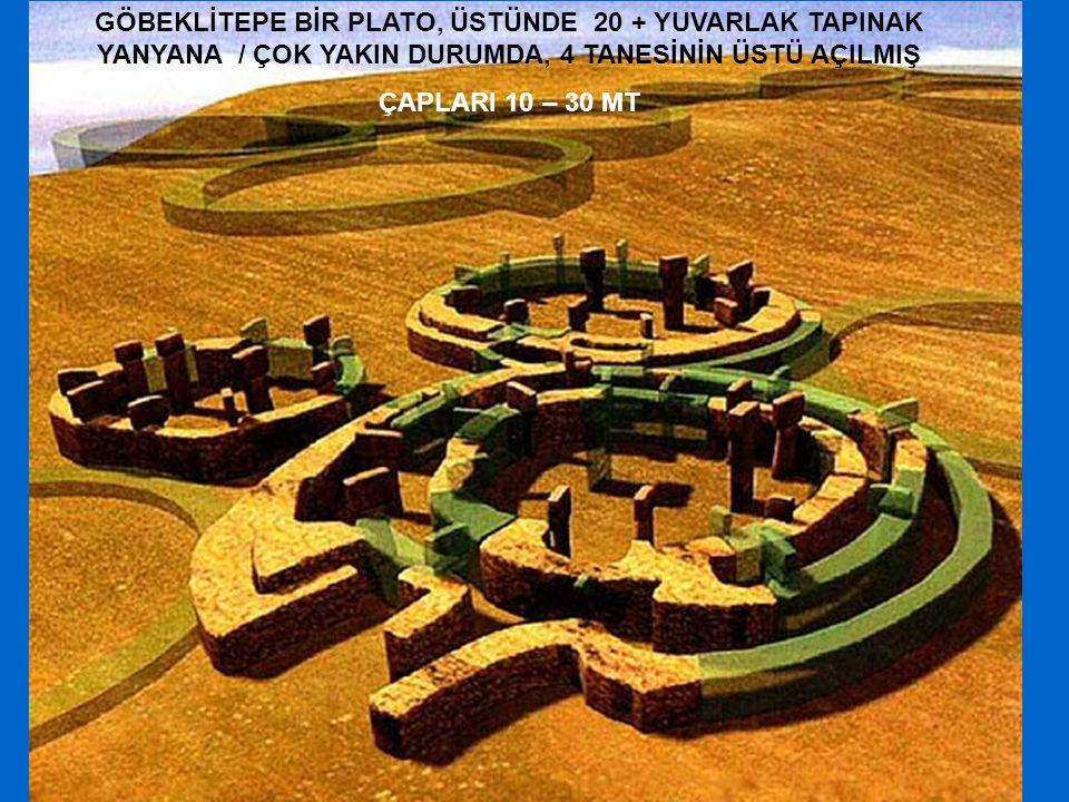 GÖBEKLİTEPE BİR PLATO, ÜSTÜNDE 20 + YUVARLAK TAPINAK YANYANA / ÇOK YAKIN DURUMDA, 4 TANESİNİN ÜSTÜ AÇILMIŞ ÇAPLARI 10 – 30 MT
