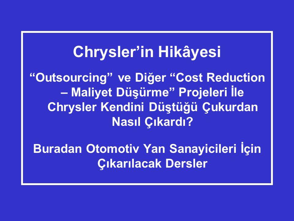 Chrysler'in Hikâyesi Outsourcing ve Diğer Cost Reduction – Maliyet Düşürme Projeleri İle Chrysler Kendini Düştüğü Çukurdan Nasıl Çıkardı.
