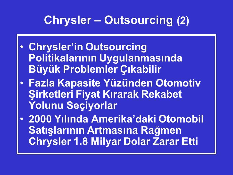 Chrysler – Outsourcing (2) •Chrysler'in Outsourcing Politikalarının Uygulanmasında Büyük Problemler Çıkabilir •Fazla Kapasite Yüzünden Otomotiv Şirketleri Fiyat Kırarak Rekabet Yolunu Seçiyorlar •2000 Yılında Amerika'daki Otomobil Satışlarının Artmasına Rağmen Chrysler 1.8 Milyar Dolar Zarar Etti