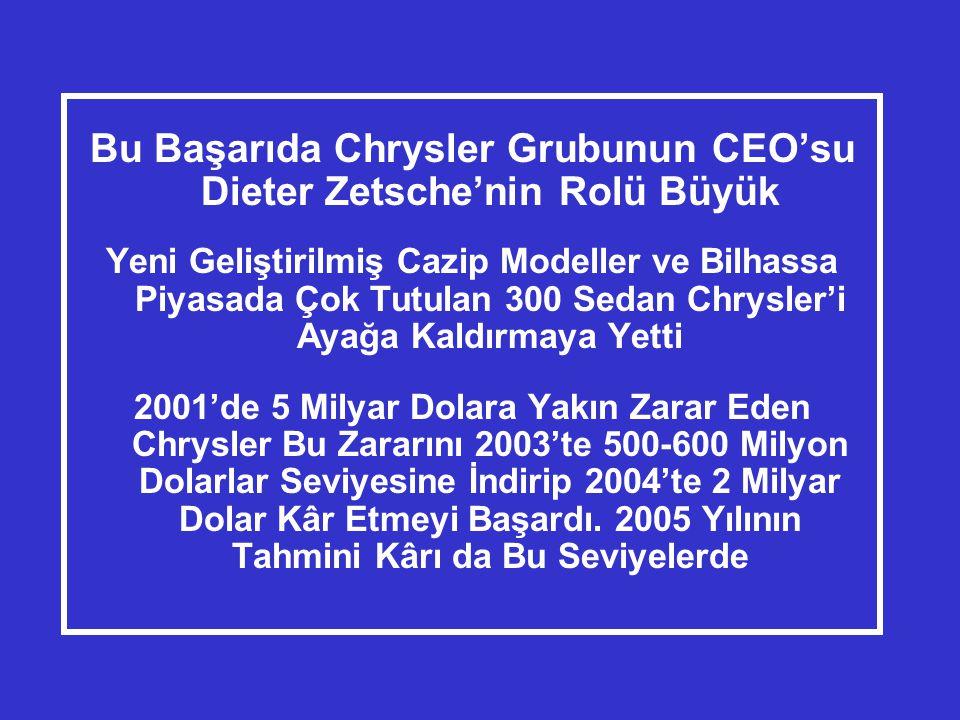 Bu Başarıda Chrysler Grubunun CEO'su Dieter Zetsche'nin Rolü Büyük Yeni Geliştirilmiş Cazip Modeller ve Bilhassa Piyasada Çok Tutulan 300 Sedan Chrysler'i Ayağa Kaldırmaya Yetti 2001'de 5 Milyar Dolara Yakın Zarar Eden Chrysler Bu Zararını 2003'te 500-600 Milyon Dolarlar Seviyesine İndirip 2004'te 2 Milyar Dolar Kâr Etmeyi Başardı.