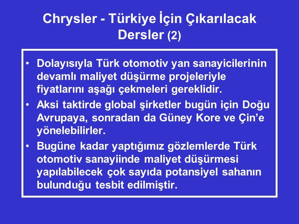 Chrysler - Türkiye İçin Çıkarılacak Dersler (2) •Dolayısıyla Türk otomotiv yan sanayicilerinin devamlı maliyet düşürme projeleriyle fiyatlarını aşağı çekmeleri gereklidir.