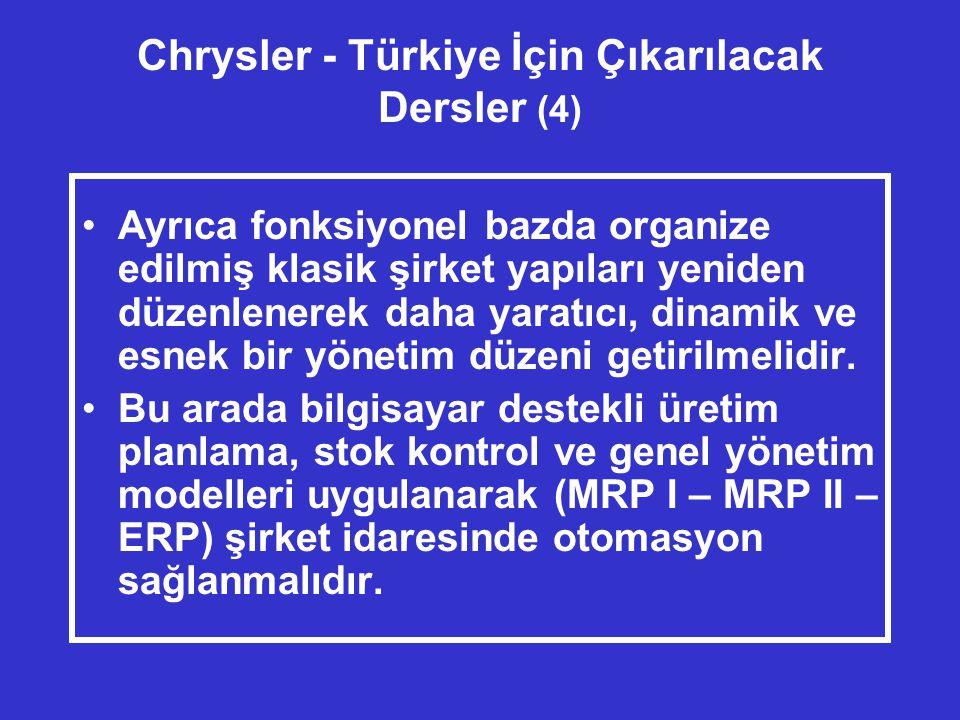 Chrysler - Türkiye İçin Çıkarılacak Dersler (4) •Ayrıca fonksiyonel bazda organize edilmiş klasik şirket yapıları yeniden düzenlenerek daha yaratıcı, dinamik ve esnek bir yönetim düzeni getirilmelidir.