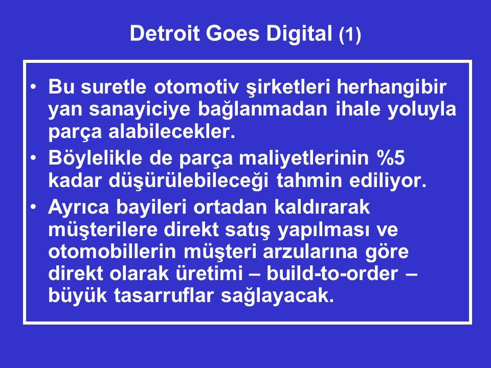 Detroit Goes Digital (1) •Bu suretle otomotiv şirketleri herhangibir yan sanayiciye bağlanmadan ihale yoluyla parça alabilecekler.