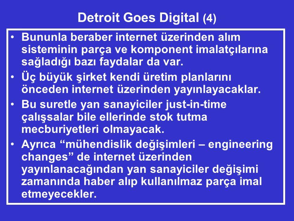 Detroit Goes Digital (4) •Bununla beraber internet üzerinden alım sisteminin parça ve komponent imalatçılarına sağladığı bazı faydalar da var.