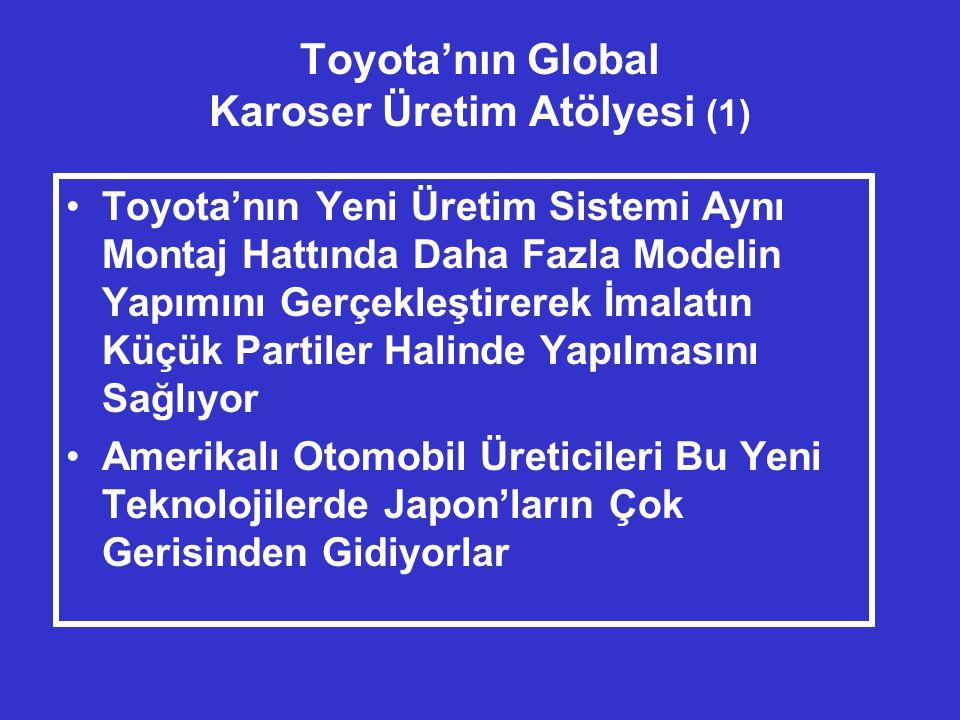 Toyota'nın Global Karoser Üretim Atölyesi (1) •Toyota'nın Yeni Üretim Sistemi Aynı Montaj Hattında Daha Fazla Modelin Yapımını Gerçekleştirerek İmalatın Küçük Partiler Halinde Yapılmasını Sağlıyor •Amerikalı Otomobil Üreticileri Bu Yeni Teknolojilerde Japon'ların Çok Gerisinden Gidiyorlar