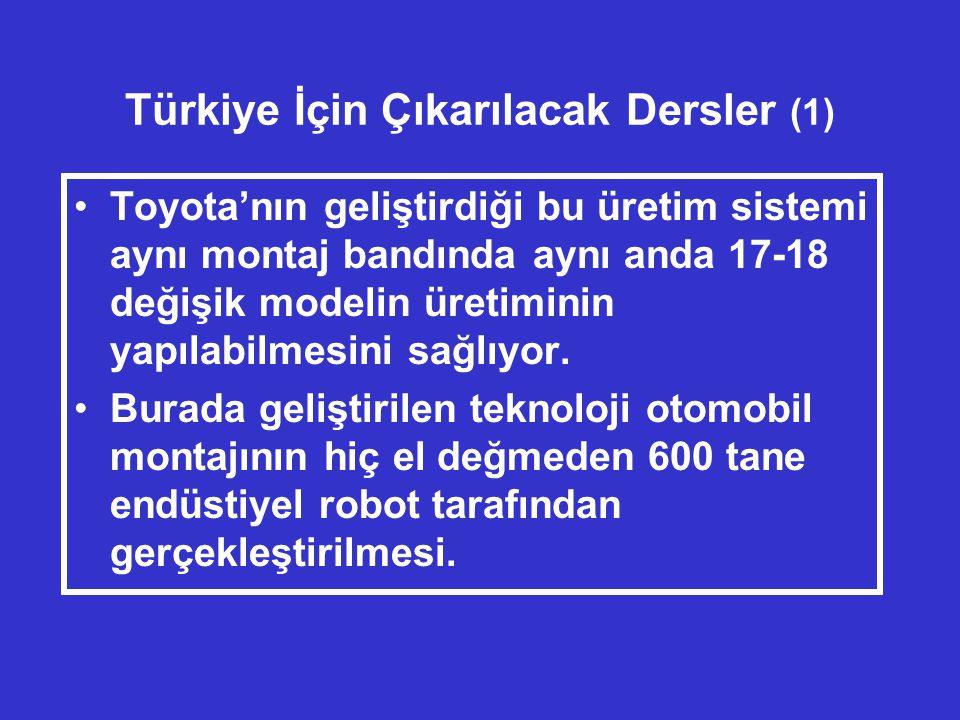 Türkiye İçin Çıkarılacak Dersler (1) •Toyota'nın geliştirdiği bu üretim sistemi aynı montaj bandında aynı anda 17-18 değişik modelin üretiminin yapılabilmesini sağlıyor.