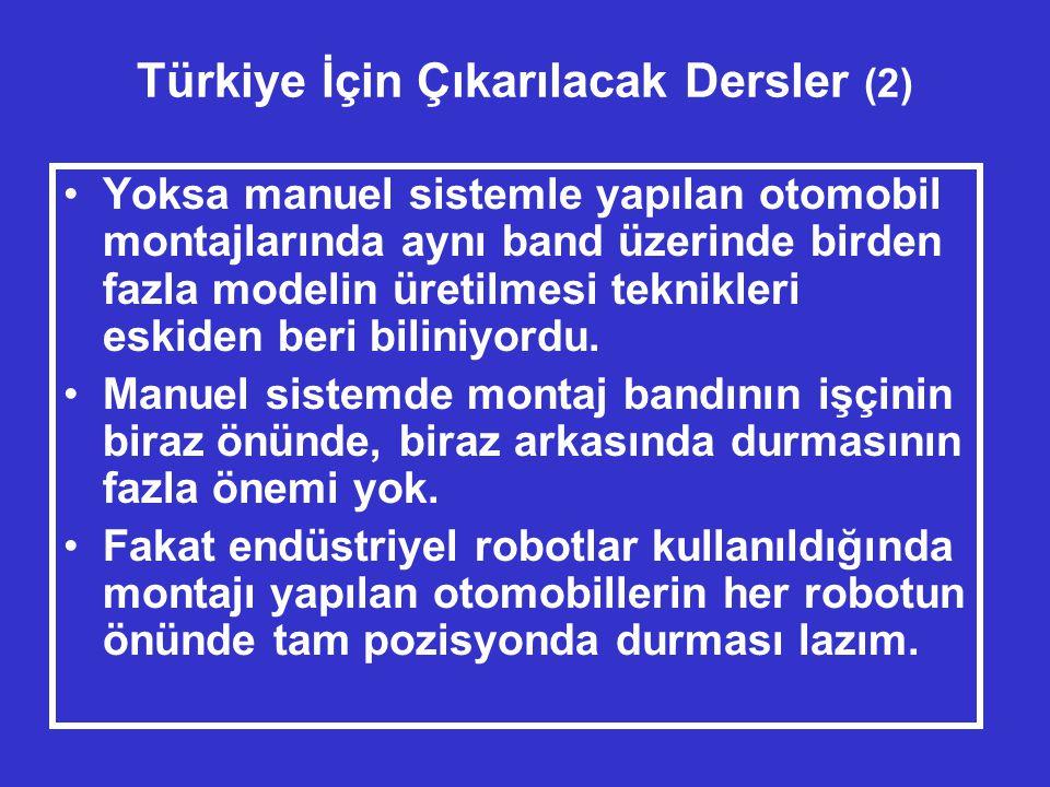 Türkiye İçin Çıkarılacak Dersler (2) •Yoksa manuel sistemle yapılan otomobil montajlarında aynı band üzerinde birden fazla modelin üretilmesi teknikleri eskiden beri biliniyordu.