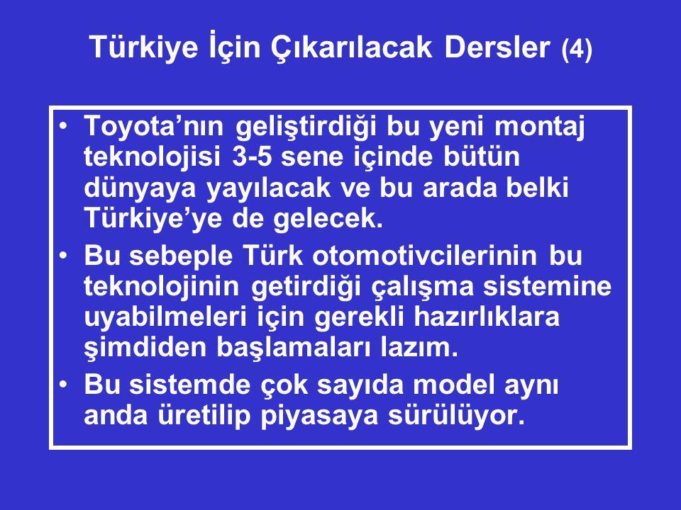 Türkiye İçin Çıkarılacak Dersler (4) •Toyota'nın geliştirdiği bu yeni montaj teknolojisi 3-5 sene içinde bütün dünyaya yayılacak ve bu arada belki Türkiye'ye de gelecek.