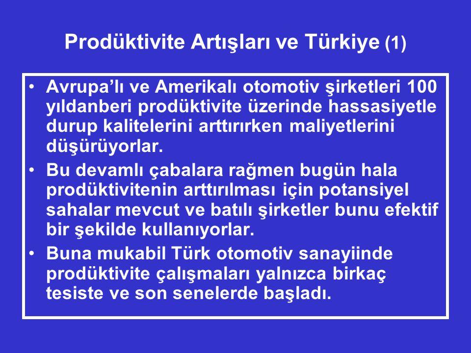 Prodüktivite Artışları ve Türkiye (1) •Avrupa'lı ve Amerikalı otomotiv şirketleri 100 yıldanberi prodüktivite üzerinde hassasiyetle durup kalitelerini arttırırken maliyetlerini düşürüyorlar.