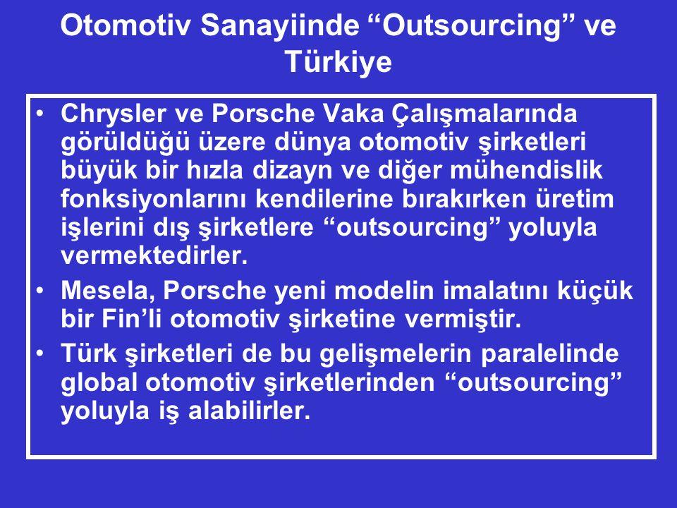 Otomotiv Sanayiinde Outsourcing ve Türkiye •Chrysler ve Porsche Vaka Çalışmalarında görüldüğü üzere dünya otomotiv şirketleri büyük bir hızla dizayn ve diğer mühendislik fonksiyonlarını kendilerine bırakırken üretim işlerini dış şirketlere outsourcing yoluyla vermektedirler.