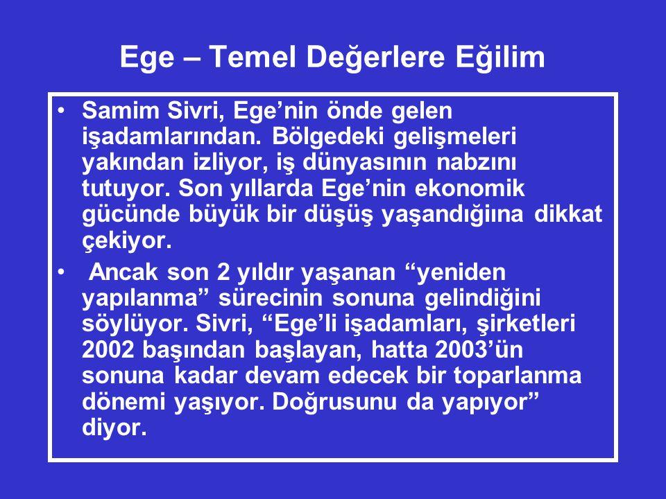 Ege – Temel Değerlere Eğilim •Samim Sivri, Ege'nin önde gelen işadamlarından.