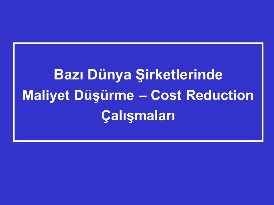 Bazı Dünya Şirketlerinde Maliyet Düşürme – Cost Reduction Çalışmaları