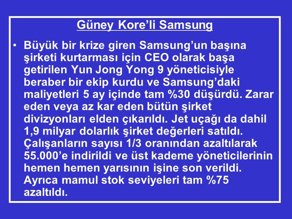 Güney Kore'li Samsung •Büyük bir krize giren Samsung'un başına şirketi kurtarması için CEO olarak başa getirilen Yun Jong Yong 9 yöneticisiyle beraber bir ekip kurdu ve Samsung'daki maliyetleri 5 ay içinde tam %30 düşürdü.