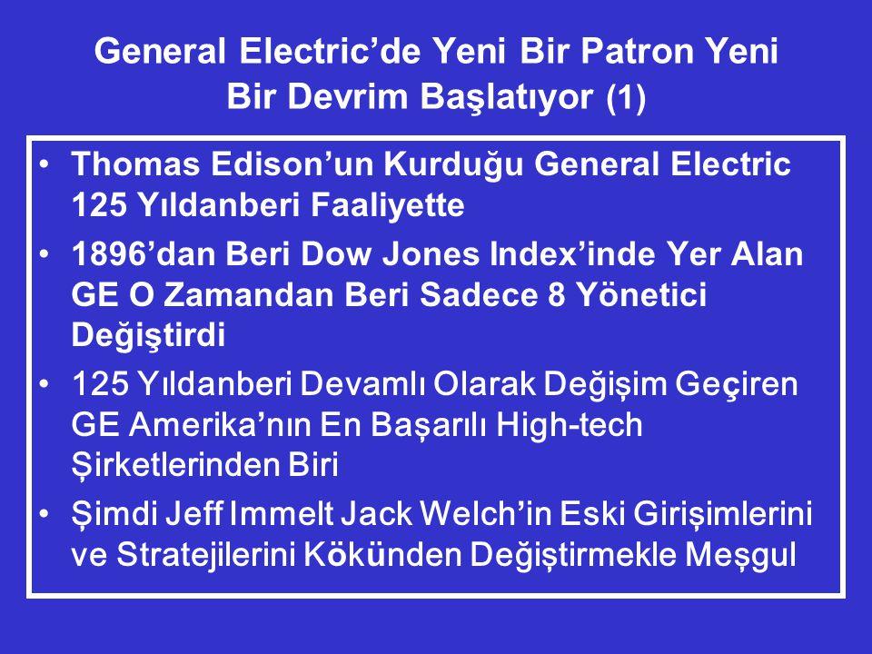 General Electric'de Yeni Bir Patron Yeni Bir Devrim Başlatıyor (1) •Thomas Edison'un Kurduğu General Electric 125 Yıldanberi Faaliyette •1896'dan Beri Dow Jones Index'inde Yer Alan GE O Zamandan Beri Sadece 8 Yönetici Değiştirdi •125 Yıldanberi Devamlı Olarak Değişim Ge ç iren GE Amerika ' nın En Başarılı High-tech Şirketlerinden Biri •Şimdi Jeff Immelt Jack Welch ' in Eski Girişimlerini ve Stratejilerini K ö k ü nden Değiştirmekle Meşgul