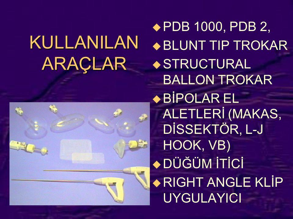KULLANILAN ARAÇLAR u PDB 1000, PDB 2, u BLUNT TIP TROKAR u STRUCTURAL BALLON TROKAR u BİPOLAR EL ALETLERİ (MAKAS, DİSSEKTÖR, L-J HOOK, VB) u DÜĞÜM İTİ