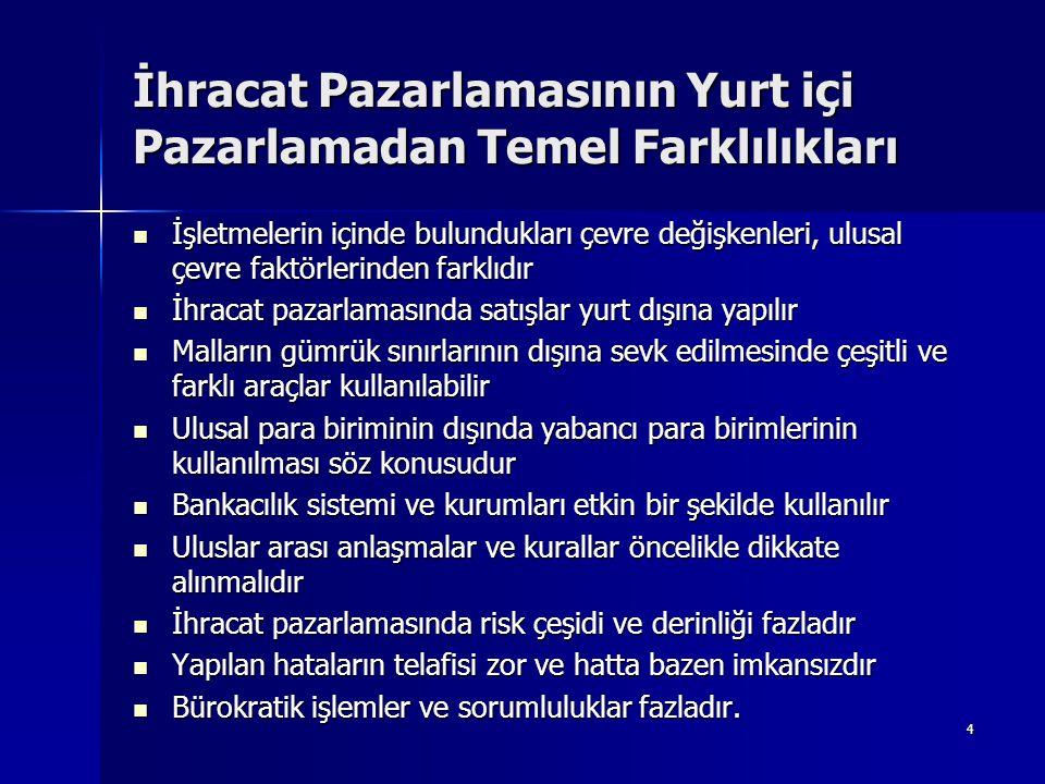 55 Rizikoların Giderilmesine Yönelik Öneriler  Alıcı firma hakkında istihbarat (bankalar, meslek kuruluşları, ticari ateşelikler vb)  Satıcının kendisine asgari yükümlülük getiren bazı teslim şekilleri (EXW, FAS) aracılığı ile önemli rizikolardan kaçınması  Hasar ve kayıplar için sigorta yaptırılması  Döviz kurlarının sürekli değişmesi karşısında forward işlem  Türk eximbank sigorta teminatı  Akreditif gibi güvenilir ödeme yöntemi ile çalışılması  Yazılı alım satım sözleşmesinin yapılması