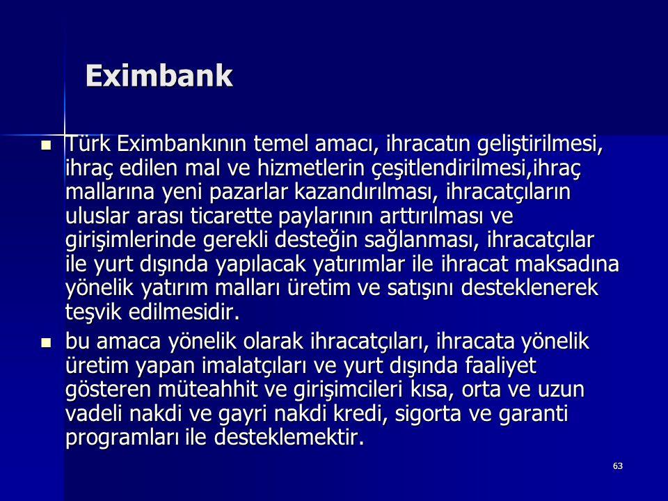 63 Eximbank  Türk Eximbankının temel amacı, ihracatın geliştirilmesi, ihraç edilen mal ve hizmetlerin çeşitlendirilmesi,ihraç mallarına yeni pazarlar